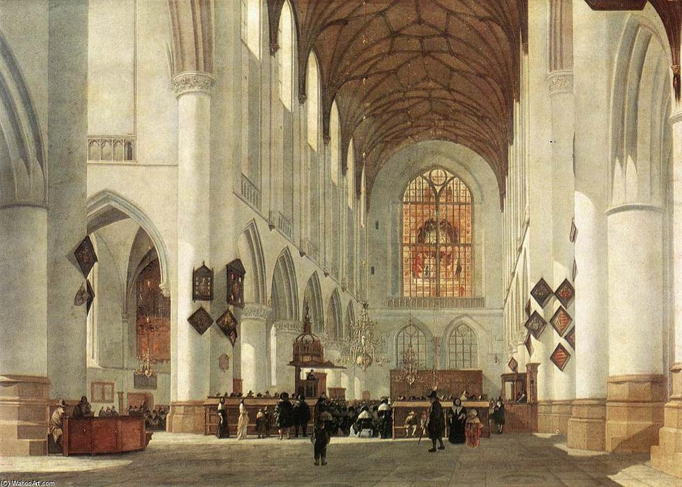 Wikioo.org - The Encyclopedia of Fine Arts - Painting, Artwork by Job Adriaensz Berckheyde - Interior of the St Bavo Church at Haarlem