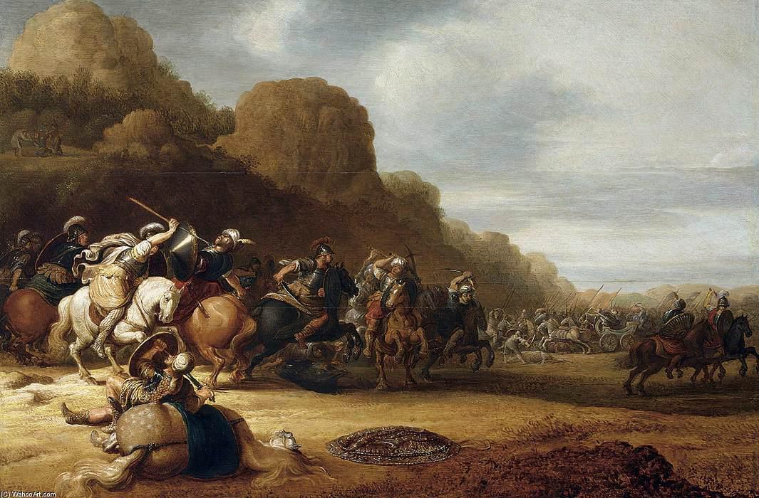 Wikioo.org - The Encyclopedia of Fine Arts - Painting, Artwork by Gerrit Claesz Bleker - Cavalry Battle Scene