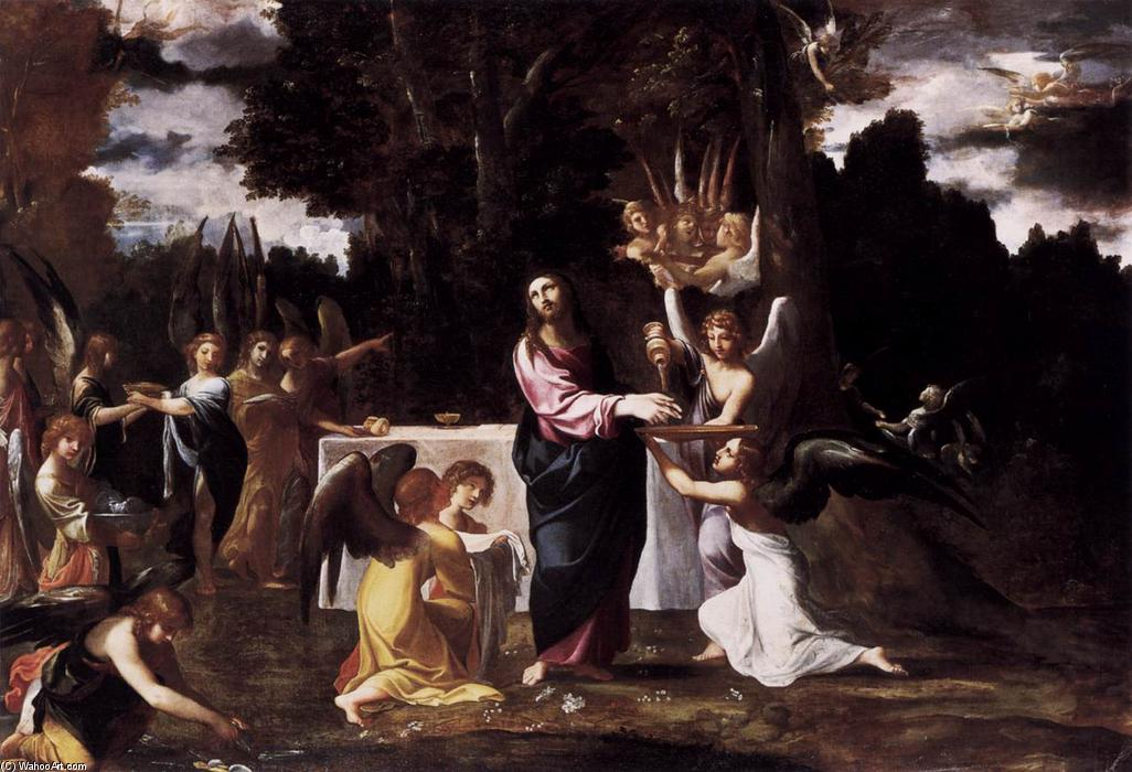 Wikioo.org - The Encyclopedia of Fine Arts - Painting, Artwork by Lodovico Carracci - Christ Served by Angels in the Wilderness