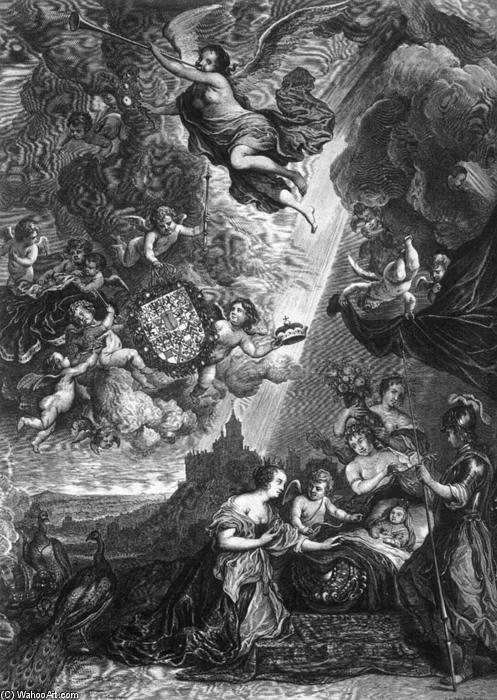 Wikioo.org - The Encyclopedia of Fine Arts - Painting, Artwork by Cornelis Van Dalen - Allegory of the Birth of Prince Wilheim Heinrich von Brandenburg
