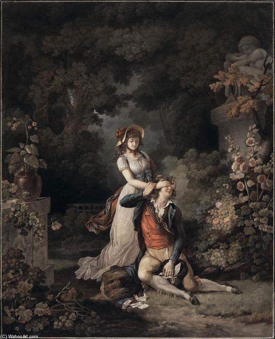Wikioo.org - The Encyclopedia of Fine Arts - Painting, Artwork by Charles Melchior Descourtis - Lover Surprised