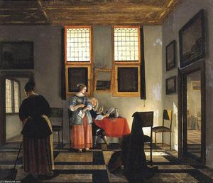 Interior with Seated Figures