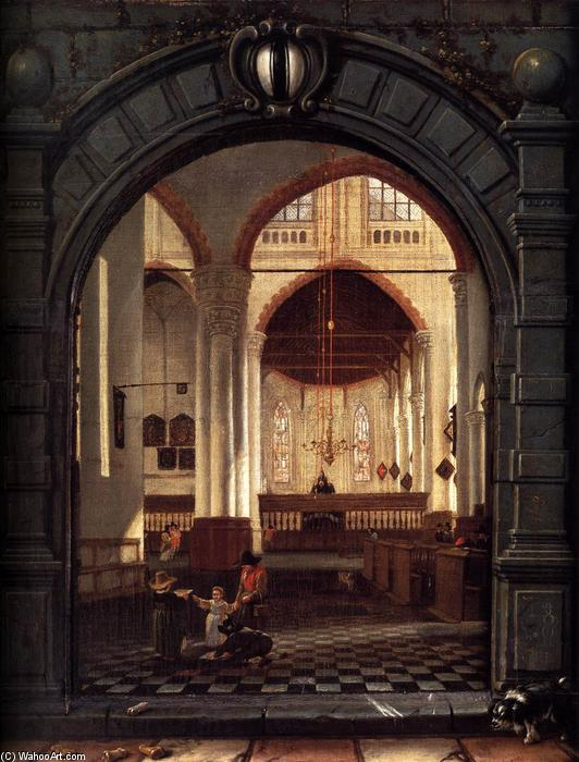 Wikioo.org - The Encyclopedia of Fine Arts - Painting, Artwork by Louys Aernoutsz Elsevier - Interior of the Oude Kerk, Delft, Seen through a Stone Archway