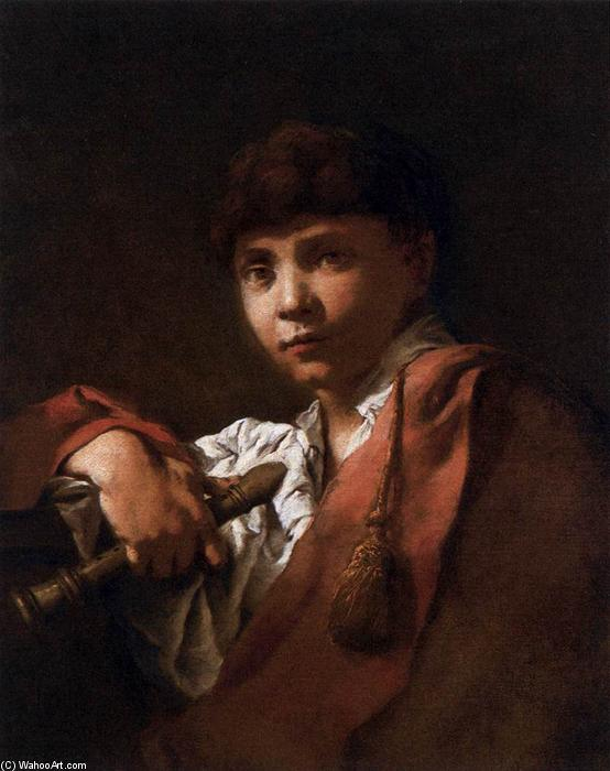 Wikioo.org - The Encyclopedia of Fine Arts - Painting, Artwork by Domenico Maggiotto - Boy with Flute