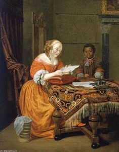 A Young Girl at a Table