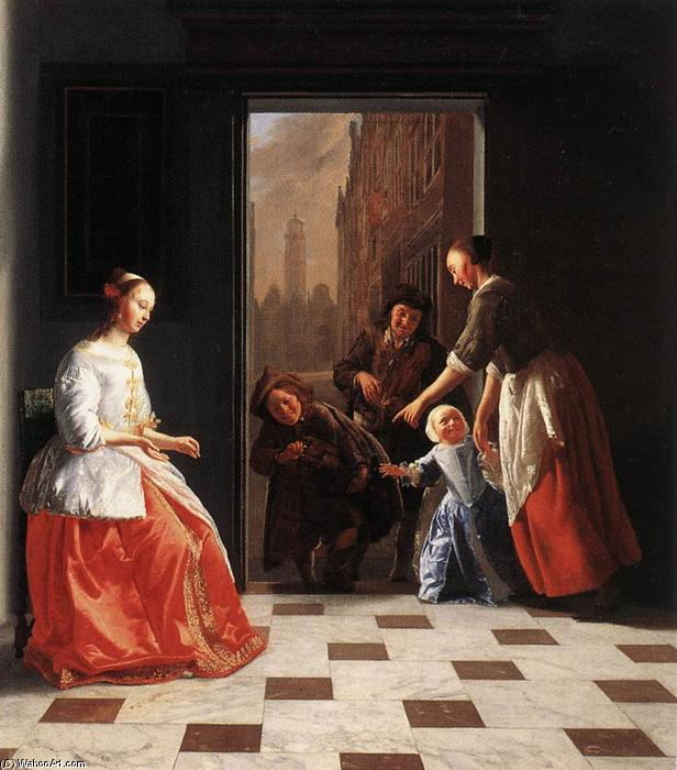 Wikioo.org - The Encyclopedia of Fine Arts - Painting, Artwork by Jacob Ochtervelt - Street Musicians at the Doorway of a House
