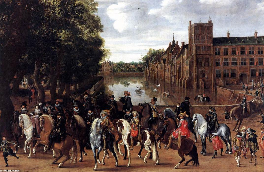 Wikioo.org - The Encyclopedia of Fine Arts - Painting, Artwork by Hendrick Ambrosius Packx - The Princes of Orange and Their Families Riding Out from the Buitenhof