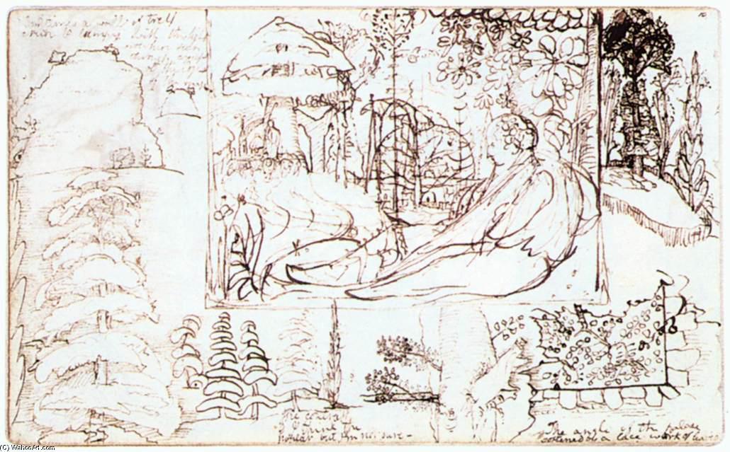 Wikioo.org - The Encyclopedia of Fine Arts - Painting, Artwork by Samuel Palmer - Sketchbook, folio 5 verso