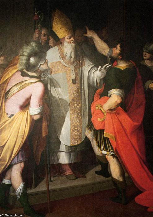 Wikioo.org - The Encyclopedia of Fine Arts - Painting, Artwork by Camillo Procaccini - St Ambrose Stopping Theodosius
