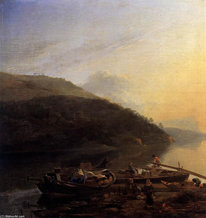 Wikioo.org - The Encyclopedia of Fine Arts - Painting, Artwork by Adam Pynacker - River Scene with Loaded Barges