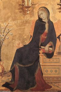 The Annunciation and Two Saints (detail)