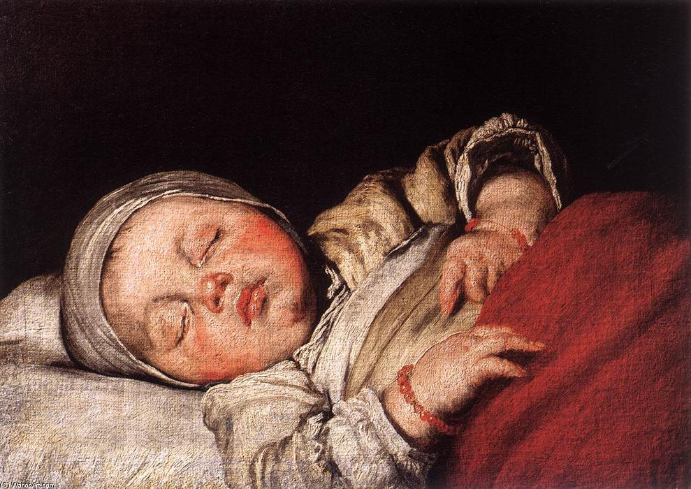 Wikioo.org - The Encyclopedia of Fine Arts - Painting, Artwork by Bernardo Strozzi - Sleeping Child