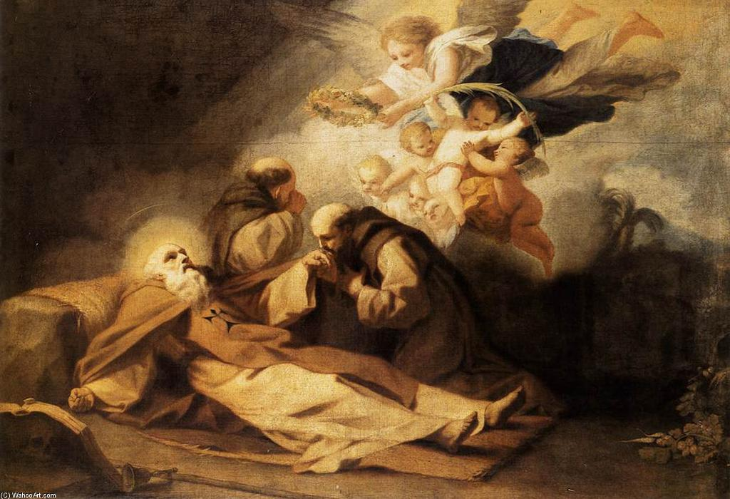 Wikioo.org - The Encyclopedia of Fine Arts - Painting, Artwork by Antonio Viladomat Y Manalt - The Death of St Anthony the Hermit