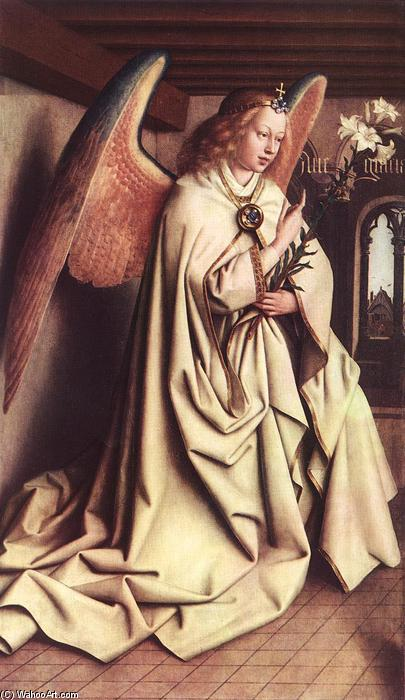 Wikioo.org - The Encyclopedia of Fine Arts - Painting, Artwork by Jan Van Eyck - The Ghent Altarpiece: Angel of the Annunciation