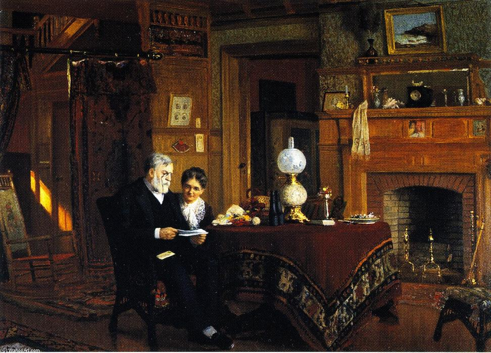 Wikioo.org - The Encyclopedia of Fine Arts - Painting, Artwork by James Wells Champney - The Letter (also known as Mr. and Mrs Samuel Colgate)