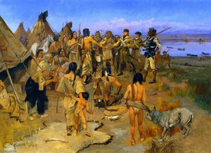 Lewis and Clark Meeting the Mandan Indians (also known as Captain William Clark of the Lewis and Clark Expedition Meeting with the Indians of the Northwest)