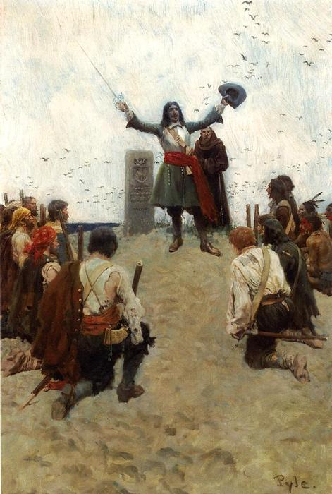 Wikioo.org - The Encyclopedia of Fine Arts - Painting, Artwork by Howard Pyle - La Salle Christening the Country Louisiana''''