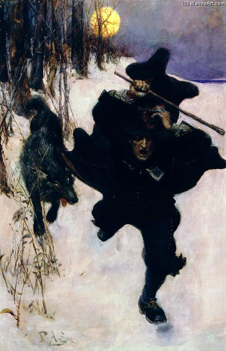 Wikioo.org - The Encyclopedia of Fine Arts - Painting, Artwork by Howard Pyle - Once it Chased Dr. Wilkerson Into the Very Town Itself