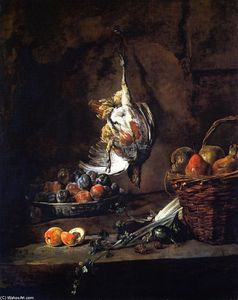 Partridge, Bowl of Plums and Basket of Pears