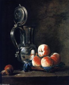 Pewter Jug with Basket of Peaches, Plums and Walnuts