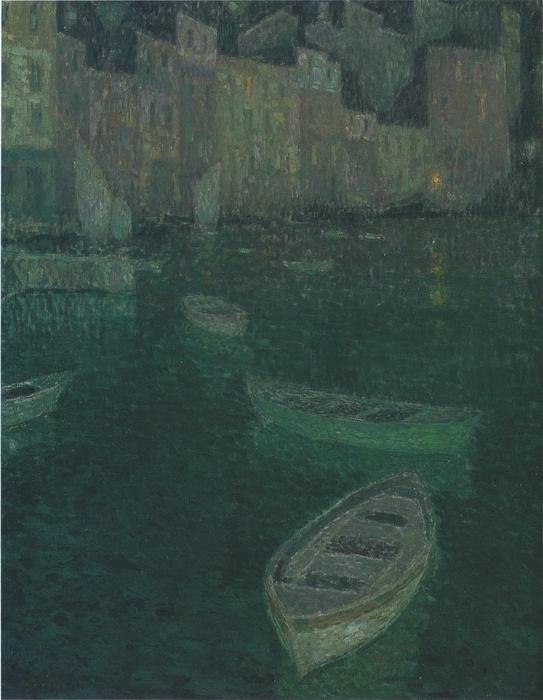 Wikoo.org - موسوعة الفنون الجميلة - اللوحة، العمل الفني Henri Eugène Augustin Le Sidaner - Port in Full Moon