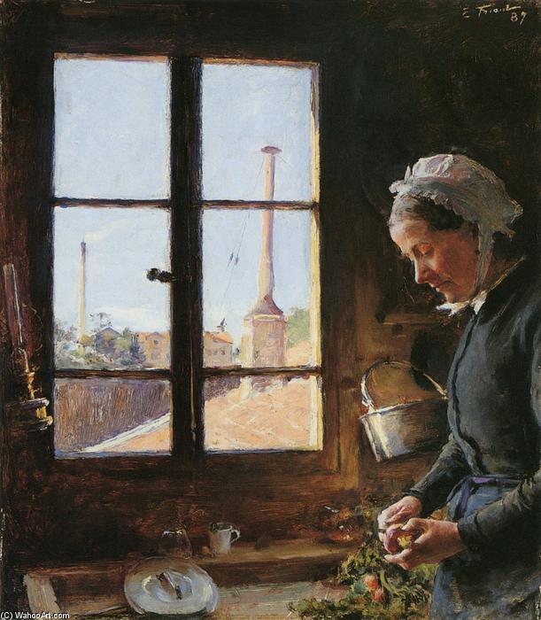 Wikoo.org - موسوعة الفنون الجميلة - اللوحة، العمل الفني Émile Friant - Portrait de sa mère épluchant un navet, devant une fenêtre