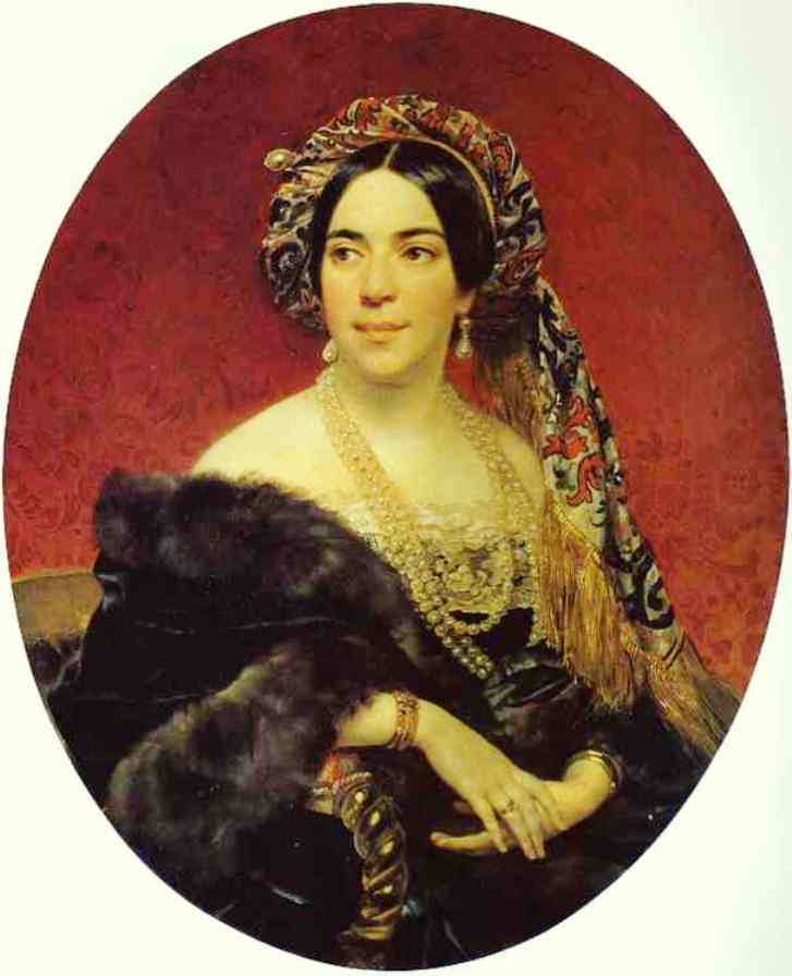 Wikioo.org - The Encyclopedia of Fine Arts - Painting, Artwork by Karl Pavlovich Brulloff - Portrait of Princess Z. A. Volkonskaya