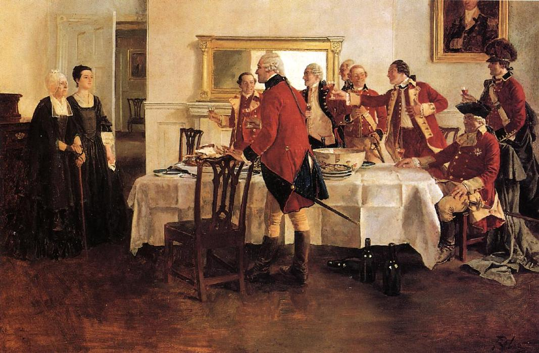 Wikioo.org - The Encyclopedia of Fine Arts - Painting, Artwork by Howard Pyle - Red Coat Soldiers Toasting the Ladies of the House