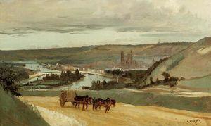 Rouen Seen from Hills Overlooking the City