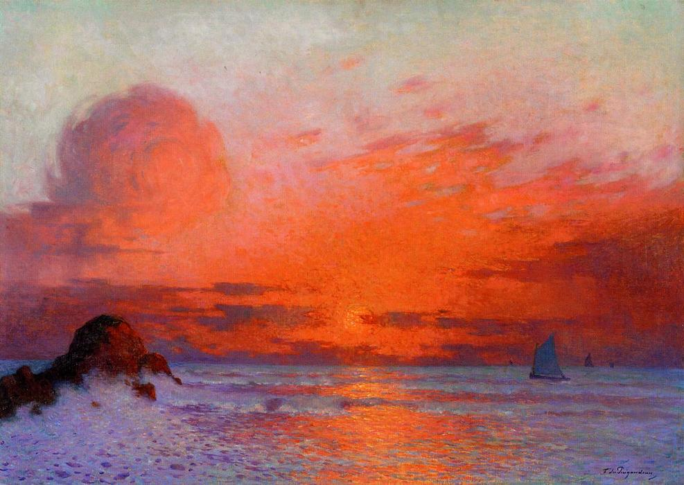 Wikioo.org - The Encyclopedia of Fine Arts - Painting, Artwork by Ferdinand Du Puigaudeau - Sailboats at Sunset (also known as Sun Setting on the Sea)