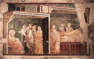 Scene da vita di san giovanni battista : 2 . nascita e denominazione del battista ( Peruzzi Cappella , Babbo Croce , Firenze )