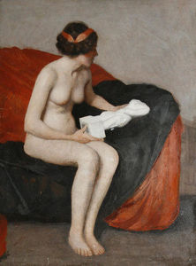 Seated nude with sculpture