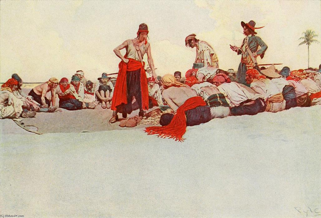 Wikioo.org - The Encyclopedia of Fine Arts - Painting, Artwork by Howard Pyle - So the Treasure Was Divided