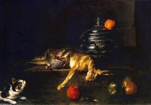 A Soup Tureen with a Cat Stalking a Partridge and Hare