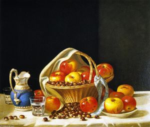 Still Life - Basket of Apples and Chestnuts on a Table
