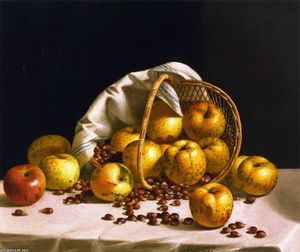 Still LIfe, Yellow Apples and Chestnuts Spilling from a Basket