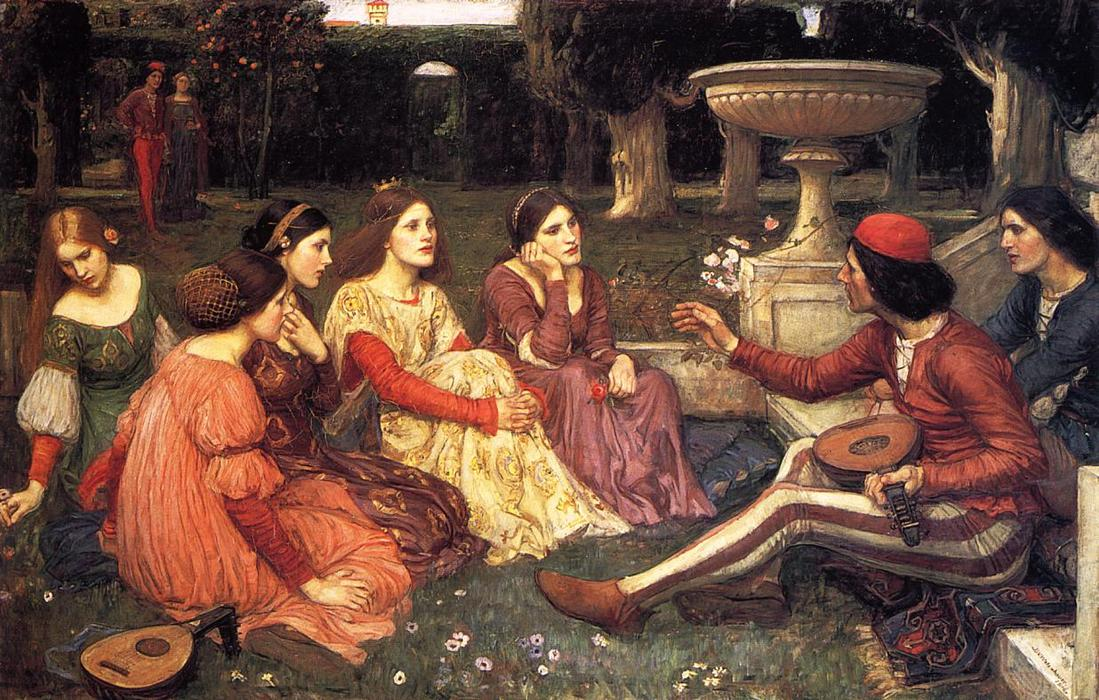 Wikioo.org - The Encyclopedia of Fine Arts - Painting, Artwork by John William Waterhouse - A Tale from the Decameron