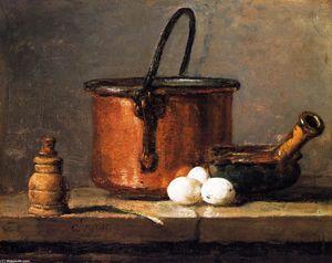 Tinned Copper Pot, Pepper Box, Leek, Three Eggs and a Casserole