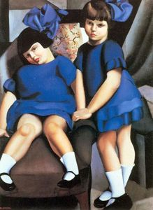 Two Little Girls with Ribbons