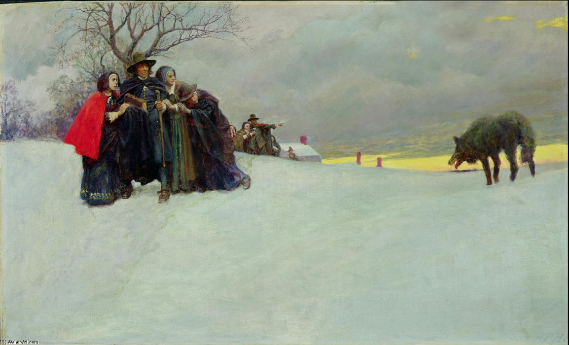 Wikioo.org - The Encyclopedia of Fine Arts - Painting, Artwork by Howard Pyle - A Wolf Had Not Been Seen at Salem for Thirty Years
