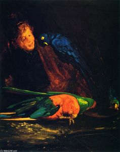 Woman and Macaws
