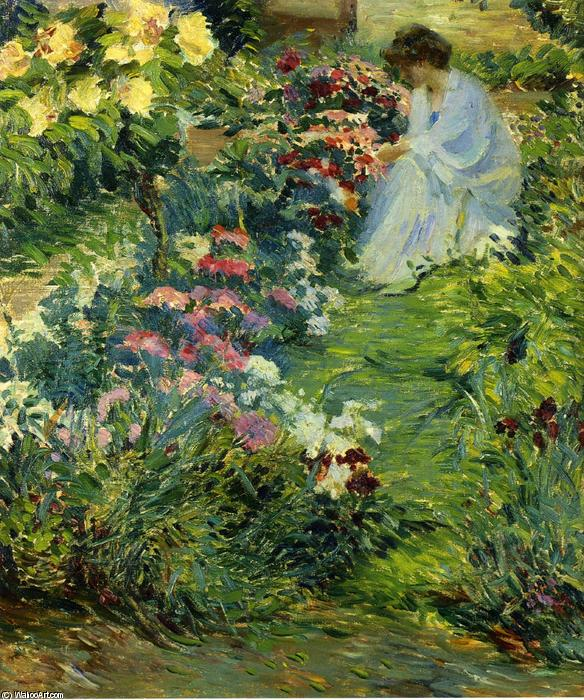 Wikioo.org - The Encyclopedia of Fine Arts - Painting, Artwork by John Leslie Breck - Woman in a Garden
