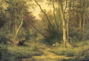 Woodland scenery with herons