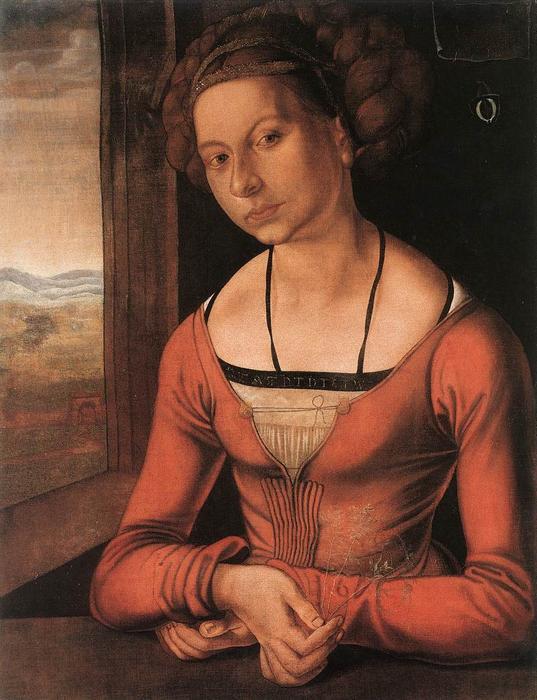 WikiOO.org – 美術百科全書 - 繪畫,作品 Albrecht Durer - 肖像 女性 与  她  头发  向上