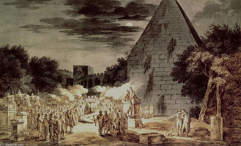 Wikioo.org – La Enciclopedia de las Bellas Artes - Pintura, Obras de arte de Bartolomeo Pinelli - Naechtliche Bestattung An Der Pyramide Cestio