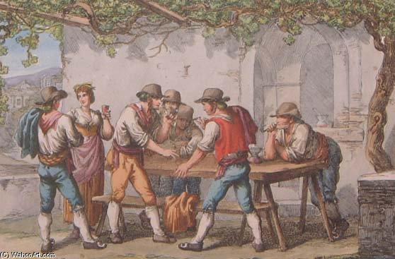 Wikioo.org – La Enciclopedia de las Bellas Artes - Pintura, Obras de arte de Bartolomeo Pinelli - el juego de morra - en roma