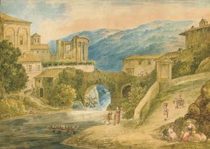Tivoli con el templo de Vesta, figuras en primer plano