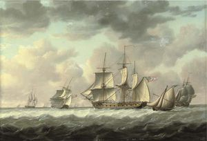 A Frigate Heaving-to In The Channel Amidst Other Ships Of Her Squadron