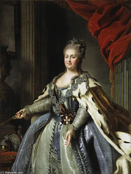 Wikioo.org - The Encyclopedia of Fine Arts - Painting, Artwork by Fyodor Stepanovich Rokotov - Portrait Of Catherine Ii Of Russia