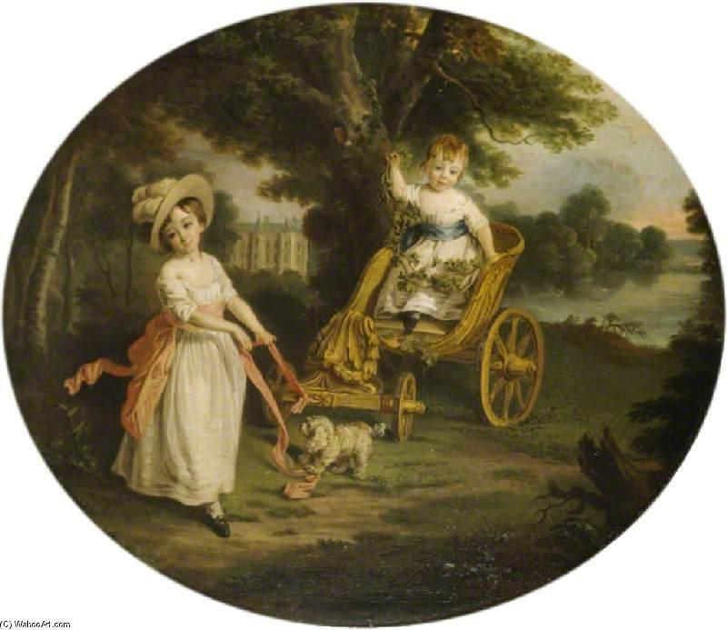 Wikioo.org – L'Encyclopédie des Beaux Arts - Peinture, Oeuvre de Francis Wheatley - Le O'Neill Garçons avec un Char dans le Terrain de Shane's Château